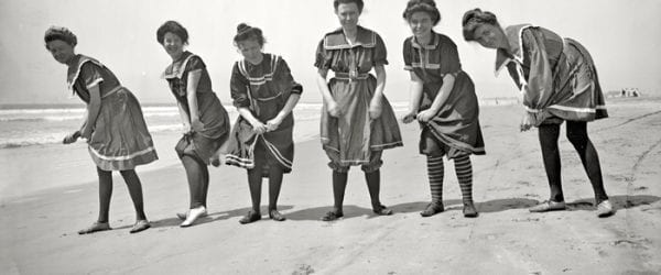 Historic Photo Of Women On Wells Beach